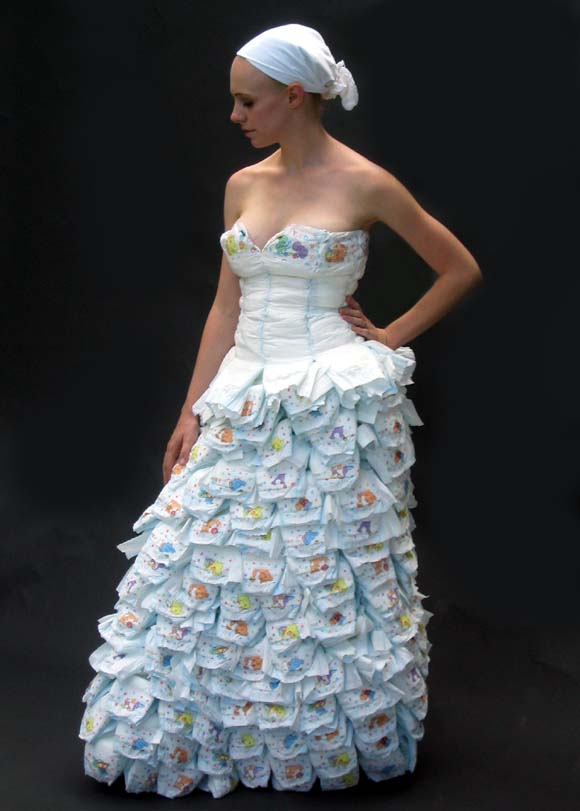 A dress made of diapers and safetypins for Double sided tape for wedding dress